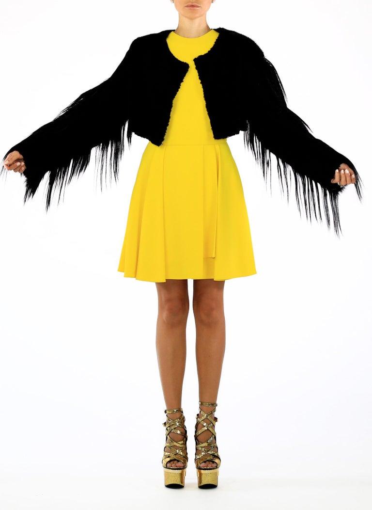 Women's New ROBERTO CAVALLI BLACK FUR & LEATHER JACKET For Sale