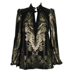 New Roberto Cavalli Black Gold Print Stretch Blouse