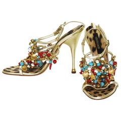 New Roberto Cavalli Embellished Gold Leather Shoes Sandals It.38.5 - US 8.5