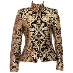 New Roberto Cavalli F/W 2006 Brown Gold-Leafing Velvet Blazer Jacket 42 44 / 6 8
