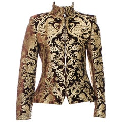 New Roberto Cavalli F/W 2006 Brown Gold-Leafing Velvet Blazer Jacket It.42 US 6