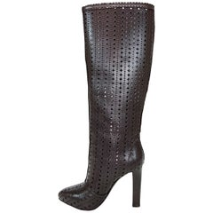 New Roberto Cavalli Laser Cut Leather Chocolate Brown Knee High Boots It 39 US 9