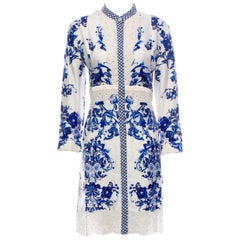 NEW Roberto Cavalli Printed Silk Dress with Eyelet Details
