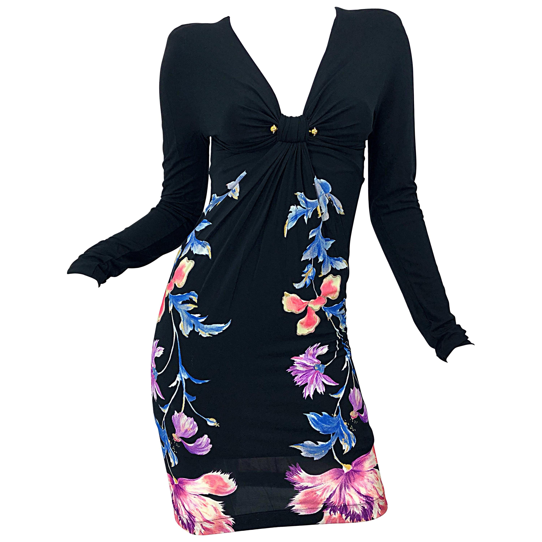 New Roberto Cavalli Strong Shoulders Silk Jersey Rhinestone Long Sleeve Dress