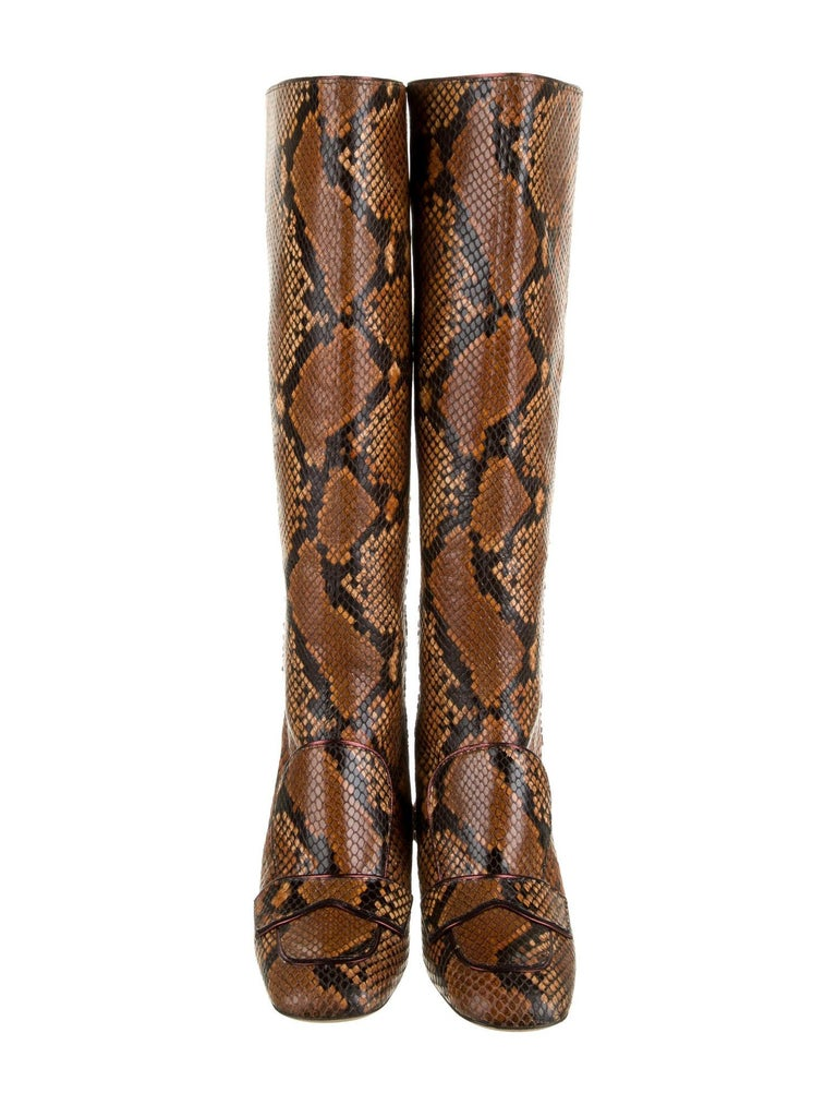 New Rochas Python Crystal Pascal Boots F/W 2018 Size 38 For Sale 5