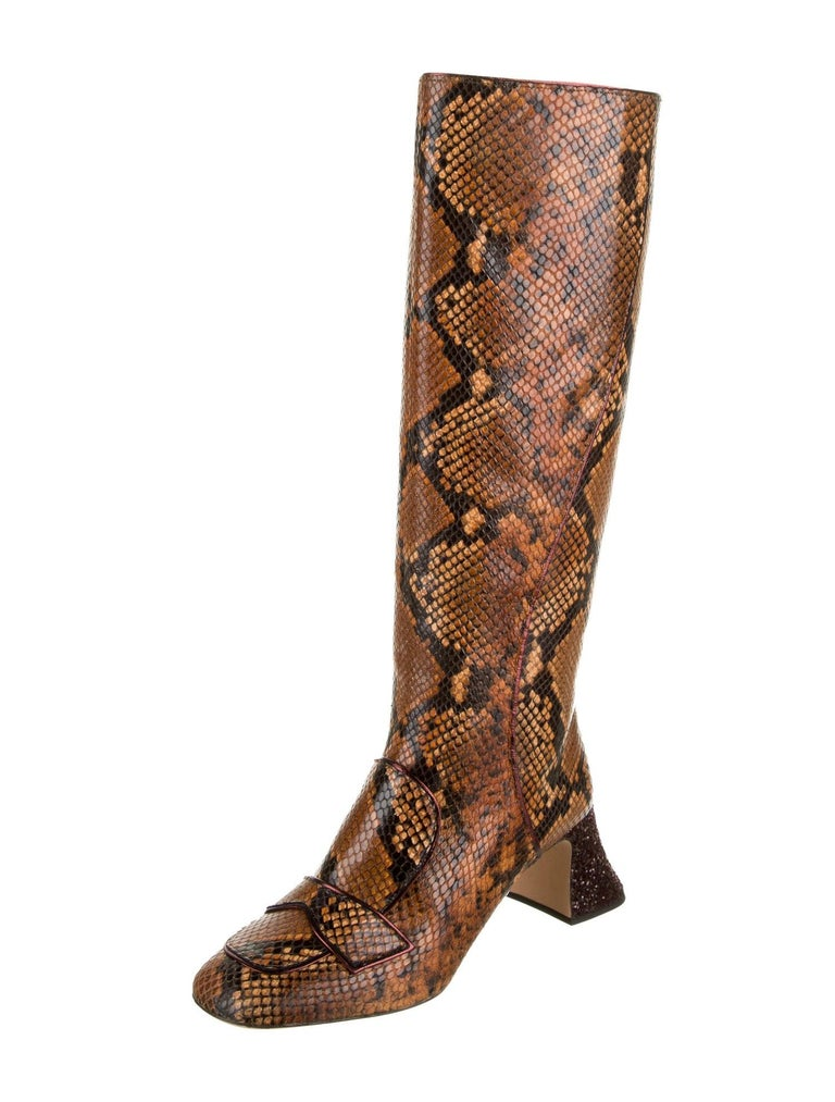 New Rochas Python Crystal Pascal Boots F/W 2018 Size 38 For Sale 3
