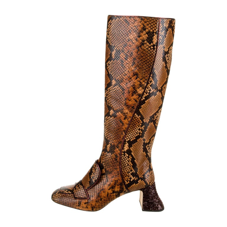 New Rochas Python Crystal Pascal Boots F/W 2018 Size 38 For Sale