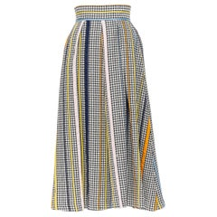 new ROSIE ASSOULIN black white houndstooth tweed colorful trim flared skirt US0