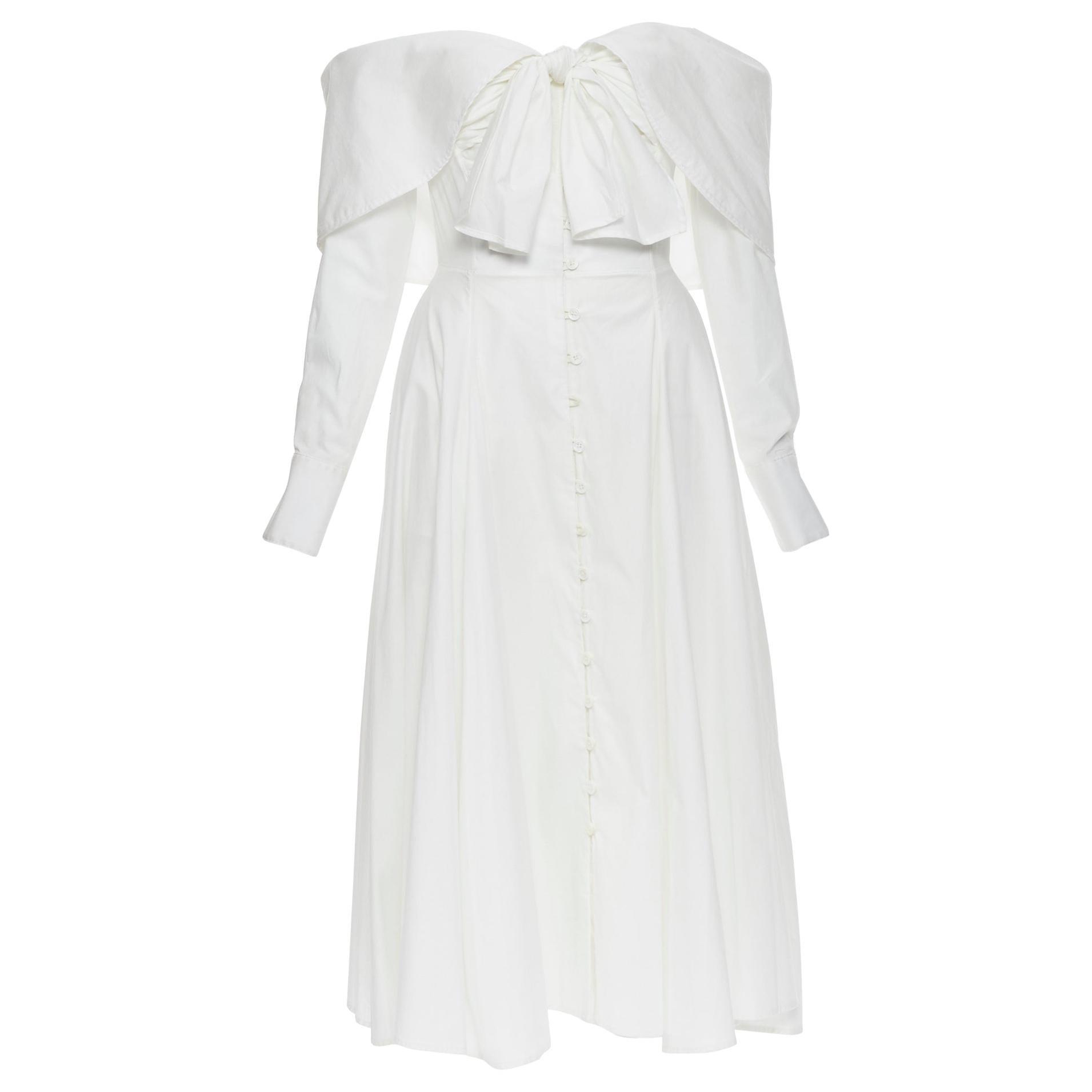 new ROSIE ASSOULIN Booby Trap white cotton poplin tie bust midi dress US2 XS