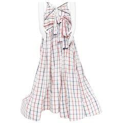 new ROSIE ASSOULIN SS18 Runway Tri-Tie check cotton seersucker gown skirt US2