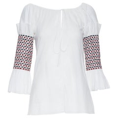new ROSIE ASSOULIN white ethnic embroidery smocked sleeves off shoulder top US4