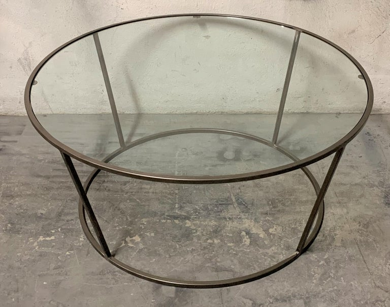 New Round Coffee Table with Metal Structure and Glass Top For Sale 4