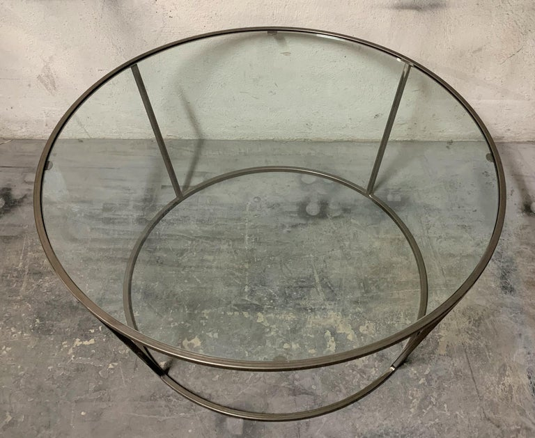 Spanish New Round Coffee Table with Metal Structure and Glass Top For Sale