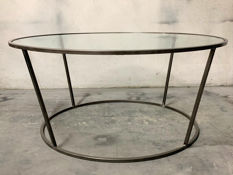 Iron New Round Coffee Table with Metal Structure and Glass Top For Sale