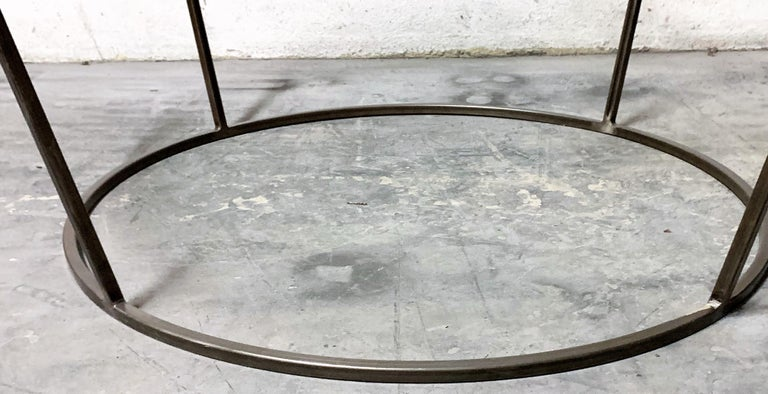 New Round Coffee Table with Metal Structure and Glass Top For Sale 1