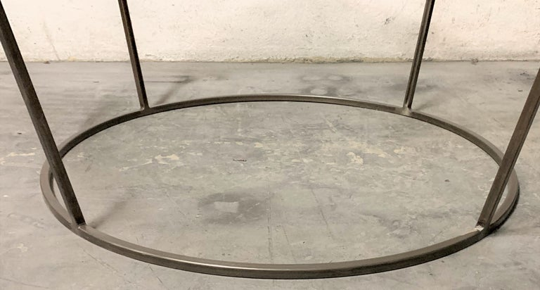 New Round Coffee Table with Metal Structure and Glass Top For Sale 2