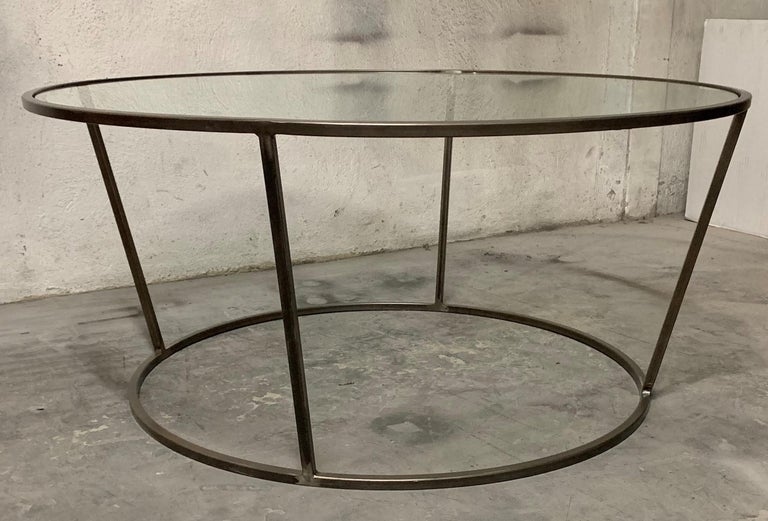 New Round Coffee Table with Metal Structure and Glass Top For Sale 3