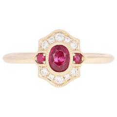 NEW Ruby & Diamond Ring - 14k Yellow Gold Size 7 Milgrain Oval .61ctw