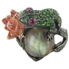 New Ruby Tsavorite Garnet Labradorite Frog Silver Ring