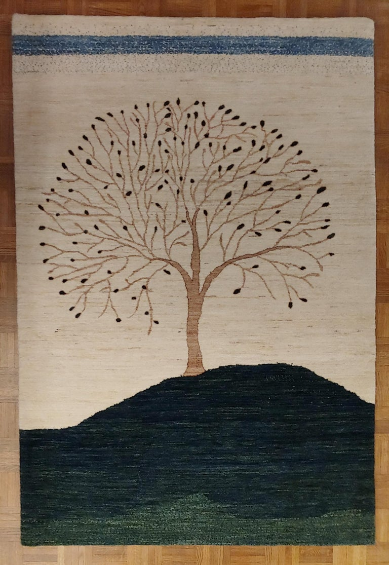 Folk Art New Rug From India, Persian Gabbeh Tree Design, Wool, About 4x6 Natural Dyes For Sale
