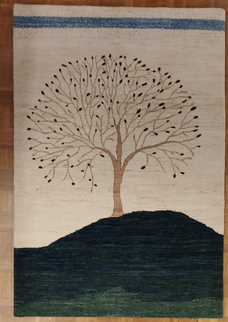 Indian New Rug From India, Persian Gabbeh Tree Design, Wool, About 4x6 Natural Dyes For Sale