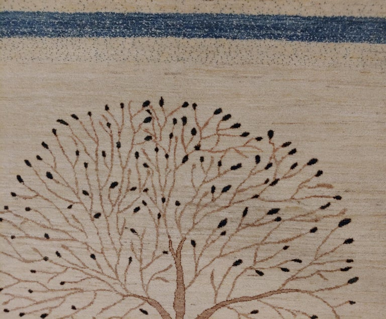 Woven New Rug From India, Persian Gabbeh Tree Design, Wool, About 4x6 Natural Dyes For Sale