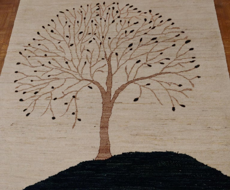 Contemporary New Rug From India, Persian Gabbeh Tree Design, Wool, About 4x6 Natural Dyes For Sale
