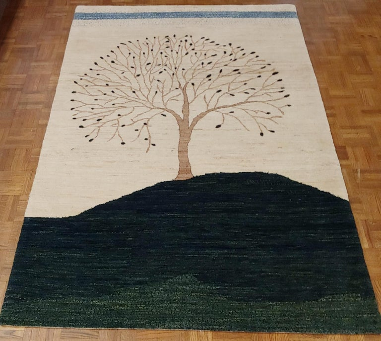 New Rug From India, Persian Gabbeh Tree Design, Wool, About 4x6 Natural Dyes For Sale 1