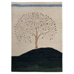 New Rug From India, Persian Gabbeh Tree Design, Wool, About 4x6 Natural Dyes