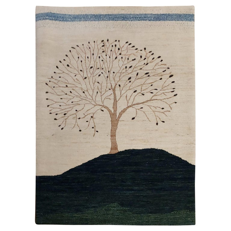 New Rug From India, Persian Gabbeh Tree Design, Wool, About 4x6 Natural Dyes For Sale