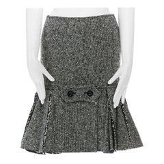 new SACAI AW15 grey wool tweed raw edge pleated back military knee skirt JP1 S