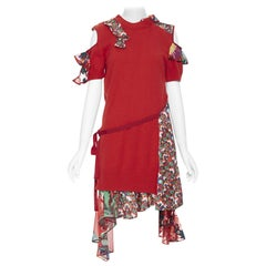 new SACAI CHITOSE ABE red sweater embroidery floral deconstructed dress JP2 M