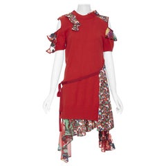 new SACAI CHITOSE ABE red sweater embroidery floral deconstructed dress JP3 L