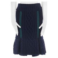 new SACAI navy chunky wool knit crochet detail fit flared hem skirt JP2