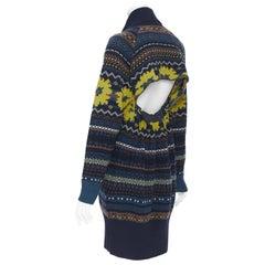 new SACAI PF18 Runway 100% wool navy intrasia cut out back sweater dress JP2 M