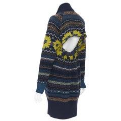 new SACAI PF18 Runway 100% wool navy intrasia cut out back sweater dress JP3 L