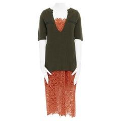 new SACAI Resort 16 military green sweater top orange star lace dress set JP2 M