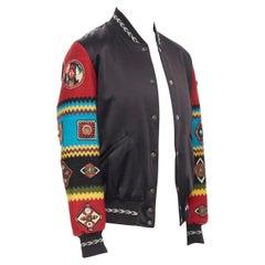new SAINT LAURENT black satin ethnic embroidery wool sleeve teddy bomber FR48 M