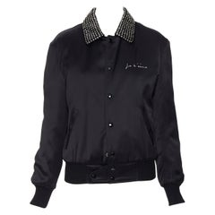 new SAINT LAURENT Je t'aime embroidery black satin strass collar Teddy bomber XS