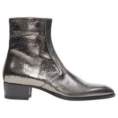 new SAINT LAURENT Wyatt 40 Metal Crack Heavy mirrored silver zip ankle boot EU43