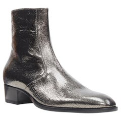 new SAINT LAURENT Wyatt 40 Metal Crack Heavy mirrored silver zip ankle boot EU44