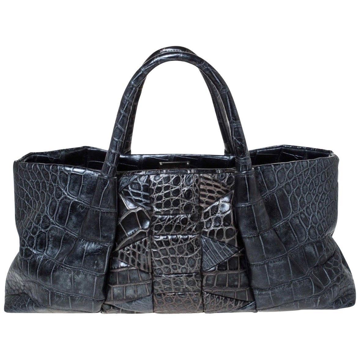NEW Salvatore Ferragamo Exotic Skin Tote Top Handle Hand Shoulder Bag