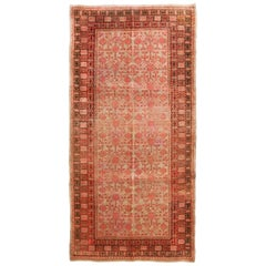 Rug & Kilim's New Samarkand Style Wool Inspired Red and Blue Geometric Pattern