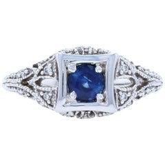 New Sapphire and Diamond Ring, 18 Karat White Gold Round Cut .74 Carat