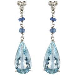 New Sapphire Aquamarine Diamond Dangle Earrings