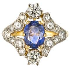 New Sapphire Diamond Gold Platinum Ring
