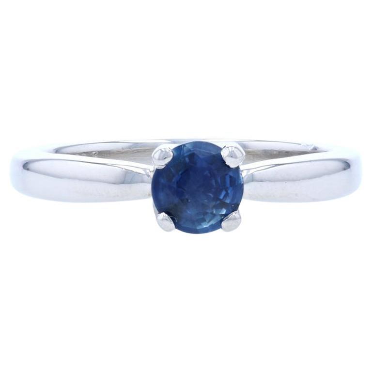 New Sapphire Solitaire Engagement Ring, 950 Platinum Round Cut .53 Carat