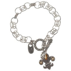New Sara Blaine Royal Citrine Fleur de Lis Link Bracelet, Silver Toggle
