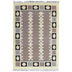 New Scandinavian Design Handwoven Flat Rug Kilim, size 6ft 6in x 9ft 10in
