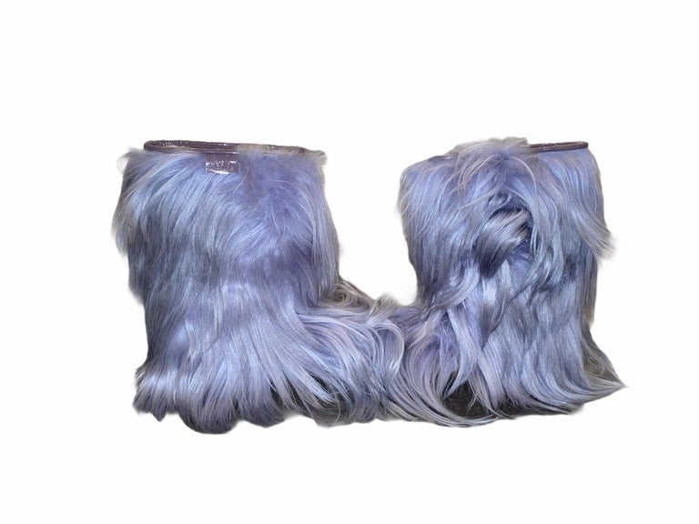 Purple NEW See by CHLOE Moon Snow Winter Yeti Fur Boots For Sale